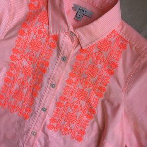 J. Crew Embroidered Cotton Popover in Neon Stripe